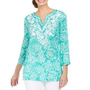 Charter Club Petite Printed Embroidered-Trim Tunic